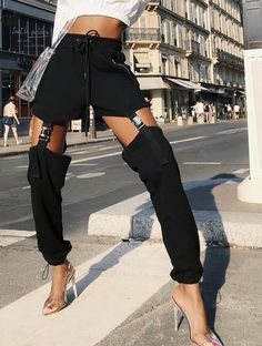 Black High Waist Patchwork Pants Women Hollow Out Adjustable Buckle Pencil Pants Streetwear Trousers Femme Pantalon fashion pant Kpop Fashion, Fashion Pants, Korean Fashion, Fashion Outfits, Womens Fashion, Fashion Trends, Fashion Clothes, Street Fashion, Girl Fashion