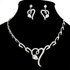 US $65.79 | Lovable Heart Shaped Alloy with White Rhinestone Jewelry Set(Including Necklace and Earrings)