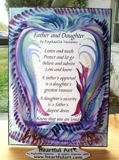 FATHER DAUGHTER POEM 5x7 Quotation Words Family Wall Sayings Heartful Art by Raphaella Vaisseau. $8.00, via Etsy.