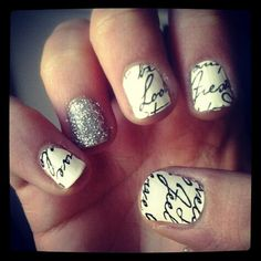 makeup beauty tips fashion style nail art braid styles Nail stickers from target  martha stewart glitter nail :)