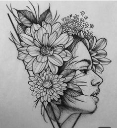 40 Creative Doodle Art Ideas to Practice in Free Time Flower Sketches, Art Drawings Sketches Simple, Pencil Art Drawings, Girl Drawing Sketches, Drawing Flowers, Tattoo Flowers, Girl Sketch, Painting Flowers, Sketch Art