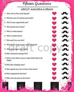15 Bride & Groom Questions-Wedding Shower / by 31Flavorsofdesign