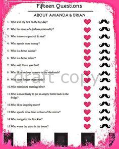 15 Bride & Groom Questions-Wedding Shower / by 31Flavorsofdesign