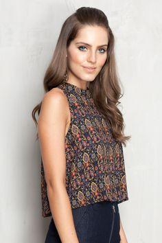 blusa fivela costas estampada shine | Dress to