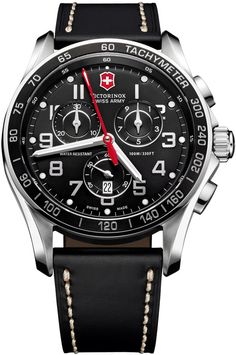 Victorinox Swiss Army Classic Chronograph Leather Watch, Black, This sturdily constructed Victorinox Swiss Army watch is rugged enough for any adventure, yet simple and practical enough for everyday w