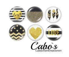 Glass Cabochons – C2065-25 Cabochon Set  6x 25mm round – a unique product by Cabos on DaWanda