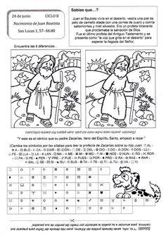El Rincón de las Melli: 24 de junio: Nacimiento de san Juan Bautista (con ... Kids English, Iris Folding, Bible Activities, Sunday School, Christianity, Religion, Education, Children, Prints