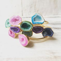 Gold & Druzy Agate Stacking Bangle