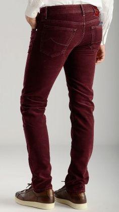 Peach skin feel burgundy trousers