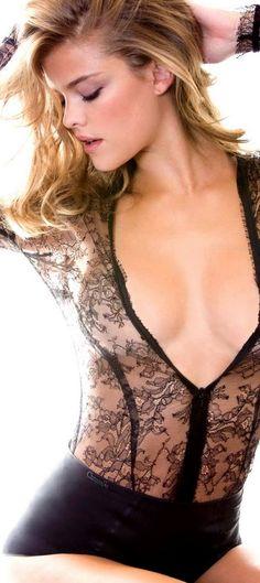 Angels On Duty - Nina Agdal In Black @styleestate