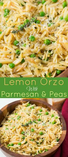 As the winter is starting to melt away we make recipes that scream spring like this Quick and easy lemon orzo with parmesan and peas. recipes for dinner Orzo Recipes, Pea Recipes, Side Dish Recipes, Chicken Recipes, Vegetarian Recipes, Dinner Recipes, Healthy Recipes, Healthy Dishes, Casseroles Healthy