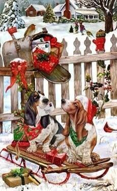 Basset Hound Christmas Holiday Cards are 8 x 5 and come in packages of 12 cards. One design per package. All designs include envelopes, your personal message, and choice of greeting. Christmas Scenes, Christmas Animals, Noel Christmas, Vintage Christmas Cards, Christmas Pictures, Holiday Cards, Christmas Dachshund, Welsh Terrier, Airedale Terrier