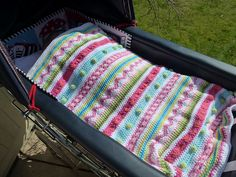Ravelry: kerrypoos' Mixed stripey blanket, Lovely colours for a baby blanket...  Lots of free patterns on ravelry.