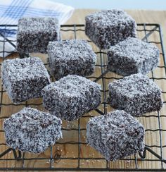 Lamingtons -- vanilla sponge cake dipped in chocolate icing and rolled in shredded coconut. Haven't had one of these in years!