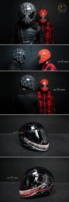 Here are some amazing, custom-painted Spider Man and Venom motorcycle helmets made by DONY Custom.