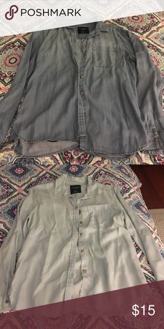 American Eagle denim shirts Very good condition, barely worn, never put in the dryer. Will sell separately or as a pair American Eagle Outfitters Tops Button Down Shirts