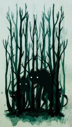 spot illustration, animal, wolf, monster, tree, woodland, creepy, silhouette, Folklore Illustrations by Jenni Saarenkyla, via Behance