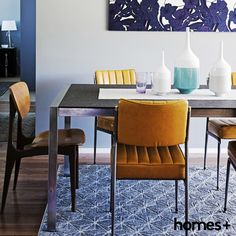 A set of a and bold bring life to reader Jet and Joey's As featured in the August 2015 issue of homes+. Dining Chairs, Dining Room, Contemporary Style Homes, House And Home Magazine, Interior Inspiration, Vases, Jet, Retro Vintage, Mid Century