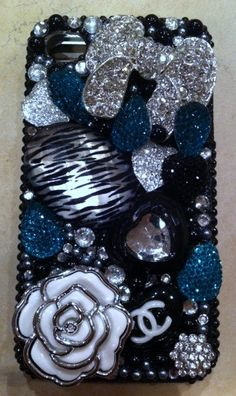 Zebra & Teal IPhone 4 Case by SimplyBlingedOut on Etsy, $50.00