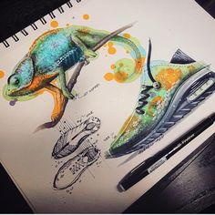 Animal Inspiration for Product Design Chameleon Trainers by TiahDesign Sketch Design, Design Art, Hidrocor, Sneakers Sketch, Nature Sketch, Blue Morpho, Industrial Design Sketch, Sneaker Art, Design Process