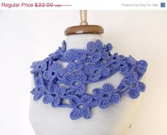 BLACK FRIDAY SALE Double Cornflowerblue Bloom by knittingshop, $19.80