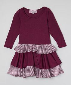 Another great find on #zulily! Burgundy Ruffle Dress - Toddler & Girls #zulilyfinds