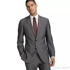 2016 Men Suit New Arrival Notch Shawl Groom Suits Tuxedos Gray Custom Made Slim Fit Groomsman Suit DressJacket+Pants From Aliza327, $85.03 | Dhgate.Com
