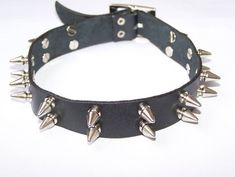 Spiked 2 Row Leather Choker Collar Metal Punk Emo Gothic Fashion