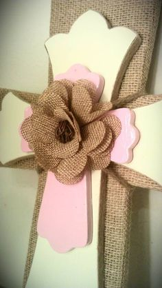 Burlap Decorative Cross with Ivory and Baby by MadeWithLoveByLori