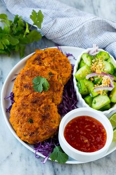 This recipe for Thai fish cakes is sweet and spicy salmon formed into patties and cooked to a golden brown. Serve the fish cakes with a cool cucumber salad and sweet chili dipping sauce for a delicious appetizer or main course!