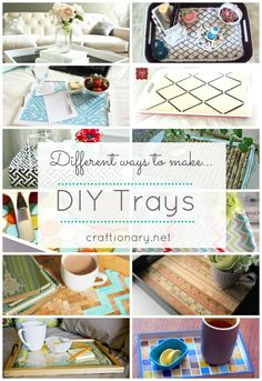 15 best and great decorative DIY trays for home. Tutorials and how to make beautiful trays for less using paint, fabric, wood, photo frames…