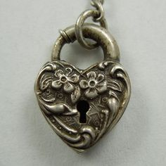 puffed sterling silver heart | Walter Lampl Sterling Silver Puffy Heart Padlock Charm ~ Floral from ...