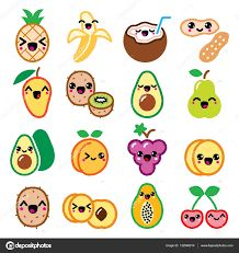 Buy Kawaii Fruit and Nuts Character Icons Set by RedKoala on GraphicRiver. Vector icons set of Japanese Kawaii fruit isolated on white FEATURES: Vector Shapes All groups have names All e. Cute Food Drawings, Cute Kawaii Drawings, Kawaii Doodles, Cute Doodles, Cute Animal Drawings, Easy Drawings, Food Doodles, Griffonnages Kawaii, Kawaii Fruit