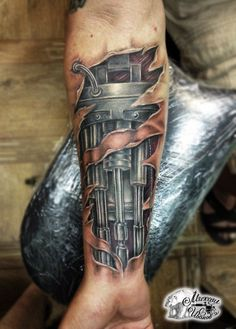 Biomechanical tattoo on forearm by Mihail A reputation known around the world We are committed to make this tattoo process a positive experience all around. Tattoo Henna, 3d Tattoos, Forearm Tattoo Men, Unique Tattoos, Body Art Tattoos, Tattoos For Guys, Sleeve Tattoos, Cyborg Tattoo, Biomech Tattoo