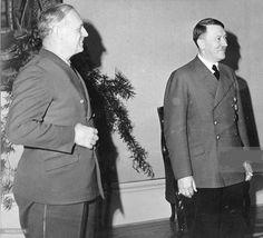 The champagne salesman with Hitler, April 17, 1943. Good Hitler hair, poor Hitler mustache. He still looks better than von Ribbentrop, however. (!)