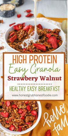 This granola recipe has twice as much protein than the leading granola. Plus it doesn't have any of the preservatives or added refined sugars. This high protein Strawberry Walnut granola I truly one of our all time favorite breakfasts, snacks or sweet treat!