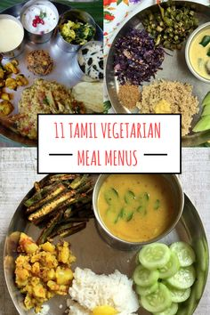 I've compiled here for you 11 menus comprising traditional Tamil vegetarian dishes. Some of them are classic combinations like Avial-Arachuvitta Sambar and some others are my own favourites. All these menus can be served with rice or cooked millets. Quick Dinner Recipes, Lunch Recipes, Cooking Recipes, Healthy Recipes, Curry Recipes, Vegetarian Menu, Lunch Menu, Lunch Box, Food Menu