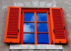 Blue and orange shutters Window Shutters Exterior, Old Shutters, Casement Windows, Windows And Doors, Hurricane Windows, Happy Colors, True Colors, Blinds Design, Blue Orange