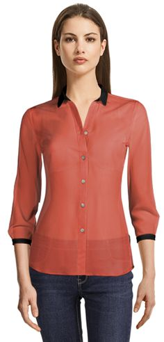 Pink (coral) blouse with bracelet sleeve and black details Suits For Women, Blouses For Women, Coral Blouse, Blouse Online, White Shirts, New Trends, Shirt Dress, Silhouettes, Fit