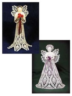 "Two heavenly crocheted angels to grace your Christmas tree or mantel! The Royal Pineapple Seraphim and the Pineapple Cascade Angel are both made using size 10 thread. Pineapple wings and skirts make up these beautiful angels. Each measures 11"" tall."