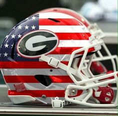 UGA and USA! Great combination of the American Flag and the University of Georgia Bulldogs football helmet College Football Helmets, Football Usa, Georgia Bulldogs Football, Football Stuff, Nfl, Georgia Bulldog Shoes, Football Equipment, Georgia Girls, University