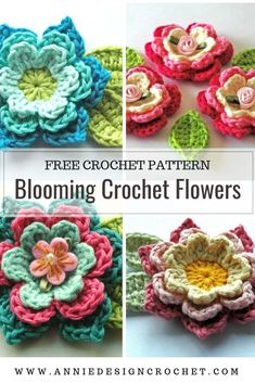 Create your own crochet flower garden with this easy step by step crochet pattern. Includes picture tutorial to make layered crochet flowers and leaves. Crochet Brooch, Crochet Motif, Crochet Patterns, Crochet Leaves, Knitted Flowers, Crochet Crafts, Crochet Projects, Crochet Flower Tutorial, Easy Crochet Flower