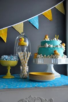 This rubber duck baby shower looks so fun and fresh! The colors and ideas are great for a spring or summertime baby shower party. #timelesstreasure