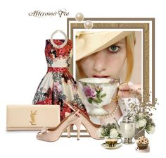 Hora del te by bea2794 on Polyvore featuring moda, Salvatore Ferragamo, Yves Saint Laurent, Miss Etoile and Jayson Home