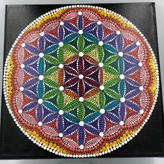 Flower of Life Dot Mandala on a Stretched Canvas Ready to hang. Painted using acrylic paint and sealed with a spray varnish Black background with multiple colors. Center flower is magenta with plum around it. Mandala Doodle, Mandala Art Lesson, Mandala Dots, Flower Mandala, Mandala Pattern, Mandala Design, Dot Art Painting, Mandala Painting, Mandala Drawing