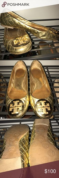 Tory Burch gold flats In excellent condition form fitting gold Tory Burch flats Tory Burch Shoes Flats & Loafers