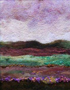 Needle felted artwork, 'Lavender Sky'
