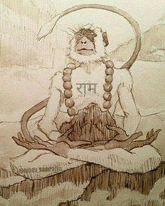 Hanuman Tattoo, Hanuman Chalisa, Krishna, Indian Gods, Indian Art, Ram Wallpaper, Monkey Tattoos, Monkey King, Buddha