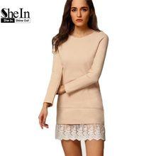 Shein mulheres moda Mini vestidos senhoras elegantes de manga comprida em torno do pescoço contraste Lace bordados Flounce vestido solto(China (Mainland))