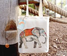 Indian Elephant Fair Trade Tote Bag Reusable Shopper Bag Cotton Tote Shopping Bag Eco Tote Bag by ceridwenDESIGN https://www.etsy.com/listing/103238966/indian-elephant-fair-trade-tote-bag?ref=rss